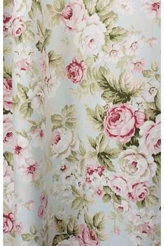 Engelse bloemen rozen ijsblauw satijn