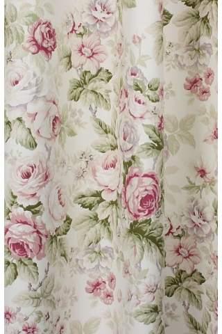 Engelse bloemen rozen ecru satijn
