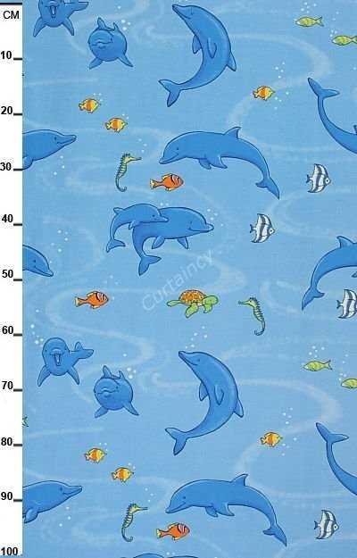 Dolfijnen Gordijnen Gordijnstof Dolfijn Kindergordijnen Curtaincy